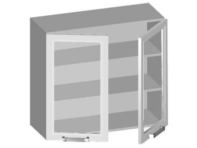 Шкаф навесной 800 с 2-мя стеклянными фасадами 14.09 Умница 720х800х320