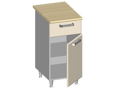 Стол-шкаф 400 с ящиком и глухим фасадом 14.22 Умница Ваниль 400х600х845