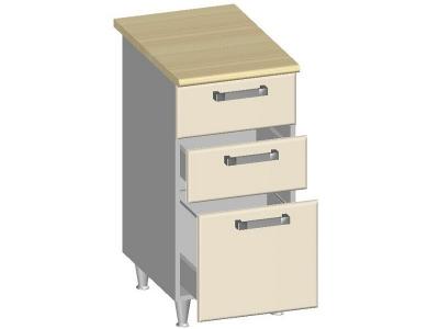 Стол-шкаф 400 с 3-мя ящиками 14.23 Умница Ваниль 400х600х845