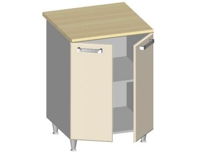 Стол-шкаф 600 с 2-мя глухими фасадами 14.25 Умница Ваниль 600х600х845