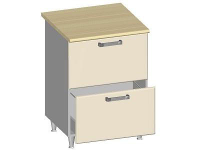 Стол-шкаф 600 с 2-мя ящиками 14.26 Умница Ваниль 600х600х845