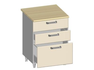Стол-шкаф 600 с 3-мя ящиками 14.27 Умница Ваниль 600х600х845
