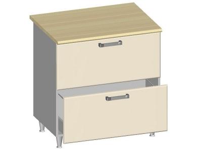 Стол-шкаф 800 с 2-мя ящиками 14.29 Умница Ваниль 800х600х845