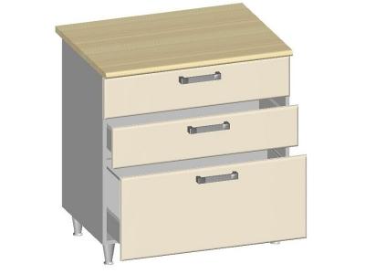 Стол-шкаф 800 с 3-мя ящиками 14.30 Умница Ваниль 800х600х845