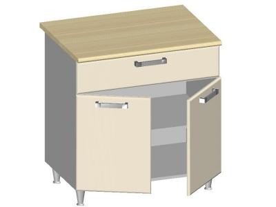 Стол-шкаф 800 с ящиком и 2-мя глухими фасадами 14.31 Умница Ваниль 800х600х845