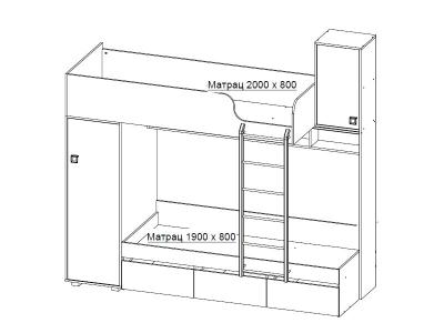 Кровать двухъярусная 28.15 Влада 2452х944х2222 мм