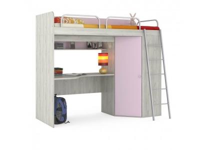 Кровать-чердак Тетрис 345 с лестницей и ограничителями Лаванда BSBS1