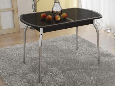 Стол обеденный раздвижной с хром. ножками Ницца СМ-217.01.1 Венге, Кожа коричневая/Стекло с рисунком коричневое