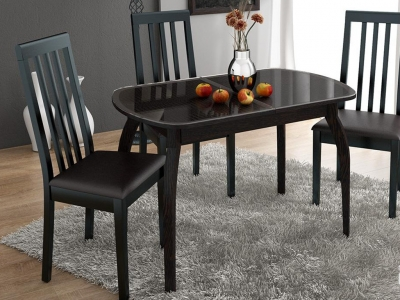 Стол обеденный раздвижной Ницца СМ-217.01.15 Венге, Кожа коричневая/Стекло с рисунком коричневое