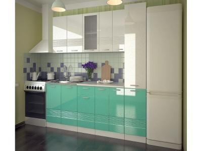 Кухонный гарнитур Волна белый металлик бирюза 2200