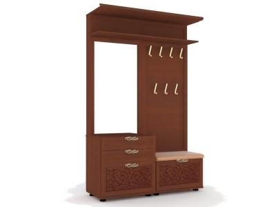 Вешалка комбинированная с зеркалом Александрия ЛД 125.110.000 1188х2160х460 Орех