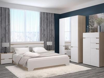 Спальный гарнитур с 3-х створчатым шкафом и комодом Анталия Венге-Белый софт