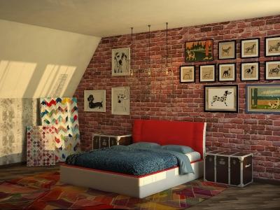 Кровать Boston красная спинка-белые царги