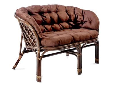 Диван Багама темно-коричневый с темной полной подушкой