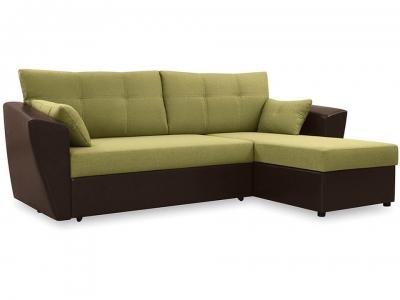 Диван угловой Борнео Concept 05 зелёный, Neo 12 коричневый