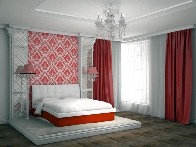 Кровать Domenic белая спинка-красные царги