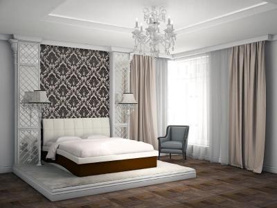 Кровать Domenic бежевая спинка-коричневые царги