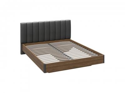 Двуспальная кровать Харрис с мягким изголовьем СМ-302.01.004 Дуб американский, Серебряный гранит