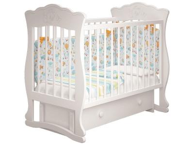 Кровать детская Елена - 3 маятник с ящиком Белый