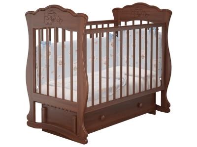Кровать детская Елена - 3 маятник с ящиком Орех