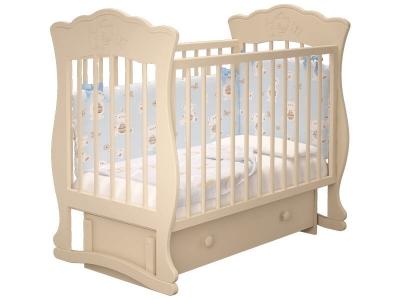 Кровать детская Елена - 3 маятник с ящиком Слоновая кость