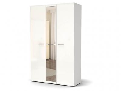 Шкаф Офелия 3-х с зеркалом Белый - МДФ Топлёное молоко