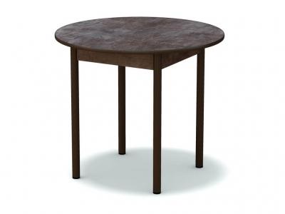 Стол обеденный круглый Тёмный камень - ноги чёрные