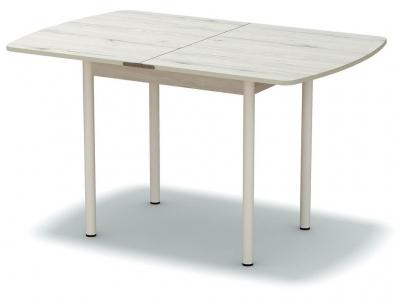 Стол обеденный раскладной закругленный Дуб эльза - ноги белые