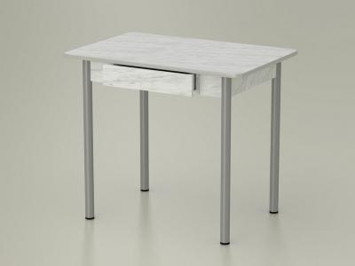 Стол обеденный закругленный с ящиком Мрамор - ноги серые
