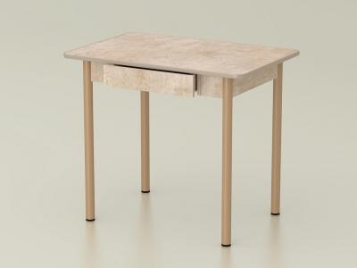 Стол обеденный закругленный с ящиком Светлый камень - ноги бежевые