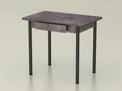 Стол обеденный закругленный с ящиком Тёмный камень - ноги чёрные
