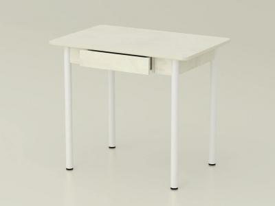 Стол обеденный закругленный с ящиком Венециано - ноги белые