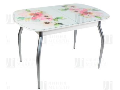 Стол обеденный со стеклом Голд Акварельные цветы