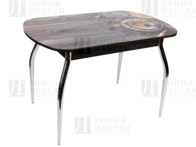 Стол обеденный со стеклом Голд Кофе с туркой