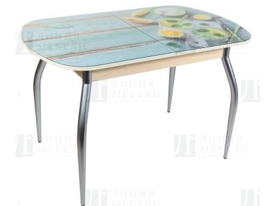 Стол обеденный со стеклом Голд Лимоны