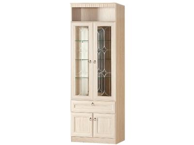 Шкаф для посуды 612 Инна Денвер светлый 800х368х2248 полки - стекло