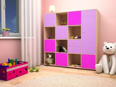 Стеллаж Джери 2 дуб-ирис-розовый