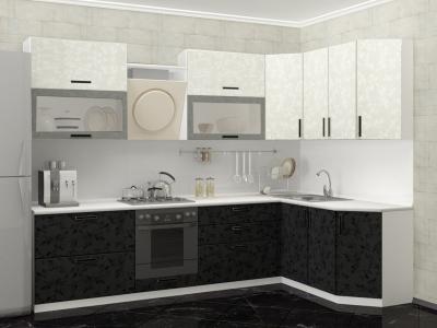 Кухня Комфорт Черно-белые цветы