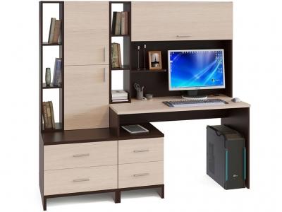 Компьютерный стол Сокол КСТ-114 со стеллажом и надстройкой Венге/Беленый дуб
