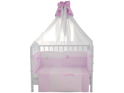 Комплект в кроватку Fairy Белые кудряшки 7 предметов, розовый
