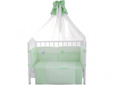 Комплект в кроватку Fairy Белые кудряшки 7 предметов, зелёный