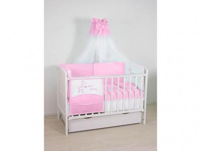 Комплект в кроватку Fairy Жирафик 7 предметов, розовый