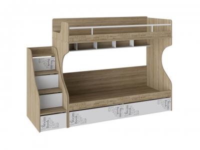 Кровать 2-х ярусная с лестницей с ящиками Оксфорд СМ-139.11.012 Ривьера, Белый с рисунком