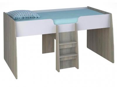 Кровать-чердак детская Polini kids Simple 4100 с выдвижными элементами, вяз-белый