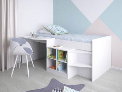 Кровать-чердак детская Polini kids Simple со столом и полками 4000, белый