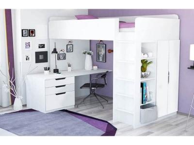 Кровать-чердак Polini kids Simple с письменным столом и шкафом, белый