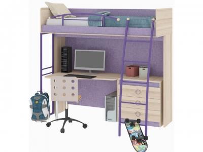 Кровать-чердак с рабочей зоной Индиго ГН-145.003