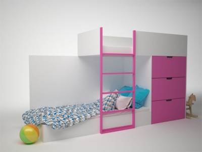 Кровать двухэтажная с комодом Брусника Фуксия ДМ-К2-1-2 2796х844х1602 Сп.место 1860х800
