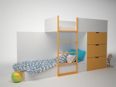 Кровать двухэтажная с комодом Брусника Шафран ДМ-К2-1-2 2796х844х1602 Сп.место 1860х800