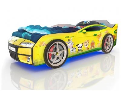 Кровать-машинка Romack Kiddy желтая-зверята